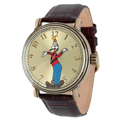 Men's Disney Goofy Antique Vintage Articulating Watch with Alloy Case - Brown