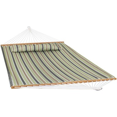 2-Person Quilted Printed Fabric Spreader Bar Hammock and Pillow - Khaki Stripe - Sunnydaze Decor