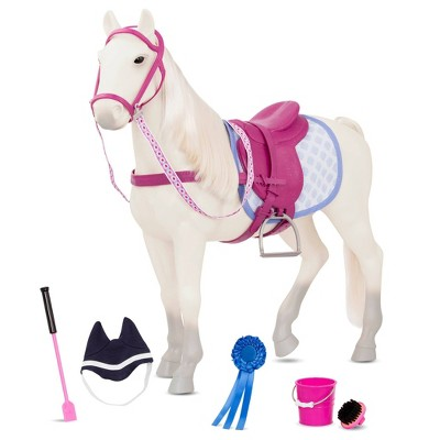 """Our Generation Gray Horse with Pink Saddle for 18"""" Dolls"""