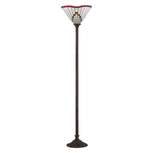"""70.5"""" Smith Tiffany Style Torchiere LED Floor Lamp Bronze (Includes Energy Efficient Light Bulb) - JONATHAN Y - image 1 of 4"""