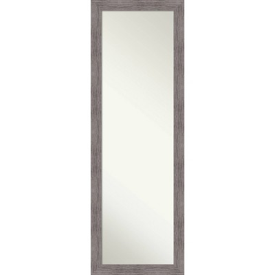 "18"" x 52"" Pinstripe Plank Framed On the Door Mirror Gray - Amanti Art"