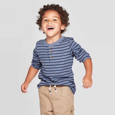 Toddler Boys' Striped Specialty Henley Thermal Long Sleeve T-Shirt - Cat & Jack™ Navy - image 1 of 3
