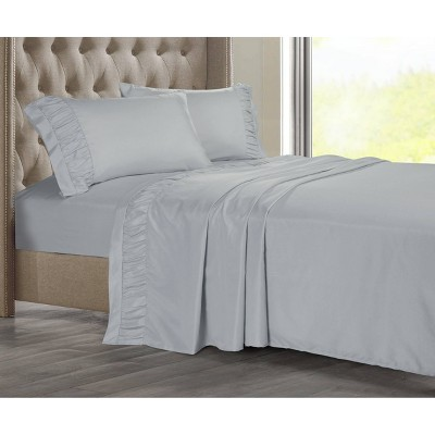 Queen Ruched Hem Solid Sheet Set Gray - Posh Home