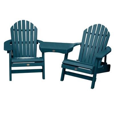 Hamilton 2pk Folding & Reclining Adirondack Chairs with 1 Adirondack Tete - A - Tete Connecting Table Nantucket Blue - Highwood