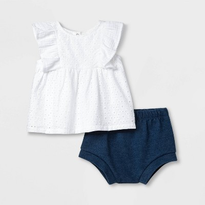 Baby Girls' Eyelet Top & Knit Shorts Set - Cat & Jack™ White 0-3M
