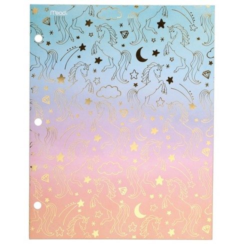 2 Pocket Paper Folder Ombre Unicorns - Mead - image 1 of 3