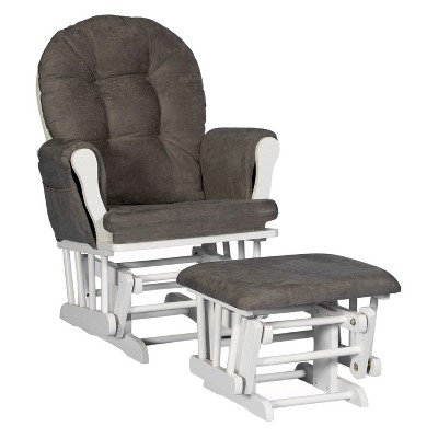 Stork Craft Hoop White Glider and Ottoman - Gray
