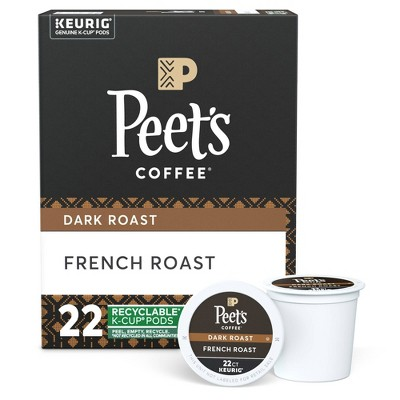 Peet's French Dark Roast Coffee - Keurig K-Cup Pods - 22ct