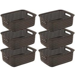 Sterilite Decorative Wicker-Style Short Weave Basket, Espresso 12726P06 (6 Pack)