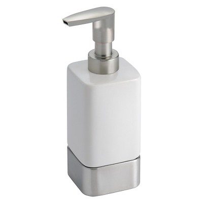 Gia Ceramic Soap Pump Dispenser White/Brushed 12oz - iDESIGN