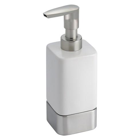 Gia Ceramic Soap Pump Dispenser White Brushed 12oz Idesign