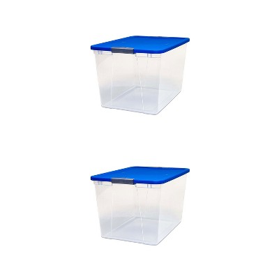 Homz 64 Quart Secured Seal Latch Extra Large Single Clear Stackable Storage Container Tote with Blue Lid for Home, Garage, or Basement (2 Pack)