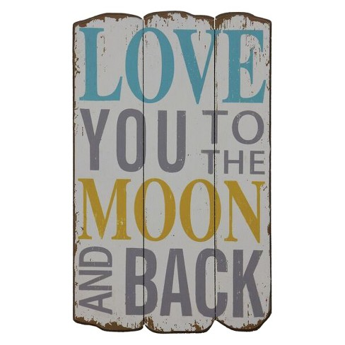 "Love You To The Moon Wall Décor (12""x19"") - 3R Studios - image 1 of 1"