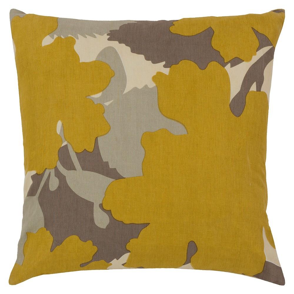 Gold Modern Floral Throw Pillow 22