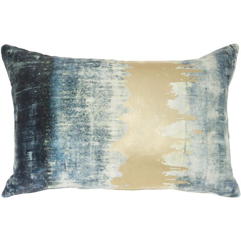 """Mina Victory Luminecence Metallic Ombre Strip Teal Throw Pillow - 14""""X20"""" - image 1 of 4"""