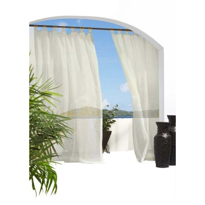 Outdoor Decor Escape treated Voile Hook & Loop Tab Top Panel Ivory