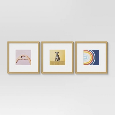 """(Set of 3) 14.5"""" x 14.5"""" Matted to 8"""" x 8"""" Gallery Frames - Room Essentials™"""