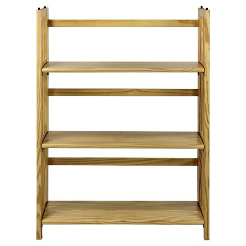 Pleasant Folding 38 3 Tier Bookshelf Stackable Natural Best Image Libraries Sapebelowcountryjoecom