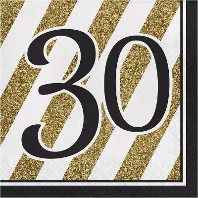 48ct Happy 30th Birthday Napkins Black