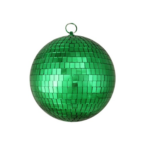 Northlight 8 Mirrored Glass Disco Ball Christmas Ornament Green