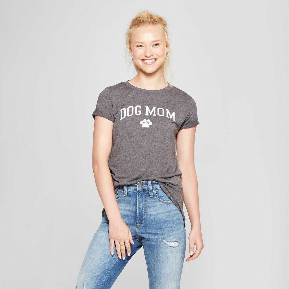 Image of Women's Short Sleeve Dog Mom Graphic T-Shirt - Modern Lux (Juniors') M, Size: Medium, Gray