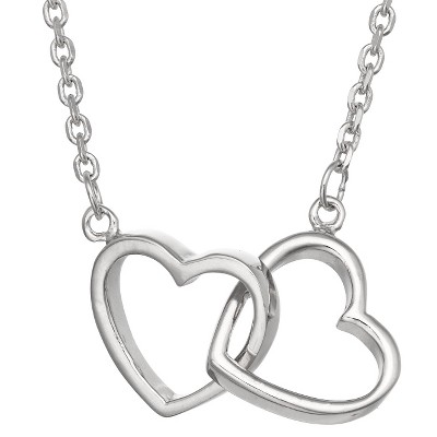 Tiara Sterling Silver Interlocking Double Heart Necklace