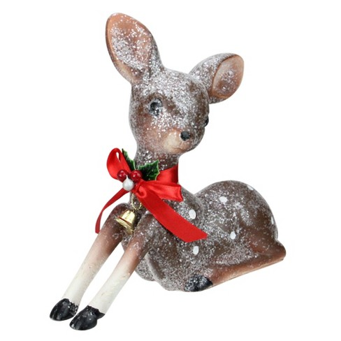 """Northlight 7.5"""" Brown and White Spotted Glitter Reindeer Table Top Christmas Decoration - image 1 of 2"""