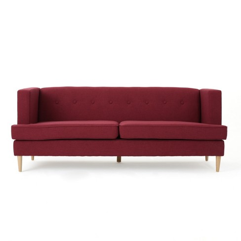 Milton Mid Century Modern Sofa Deep Red - Christopher Knight Home - image 1 of 4