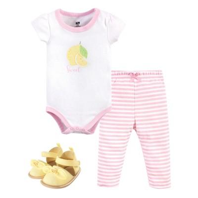 Hudson Baby Infant Girl Cotton Bodysuit, Pant and Shoe 3pc Set, Pink Lemon