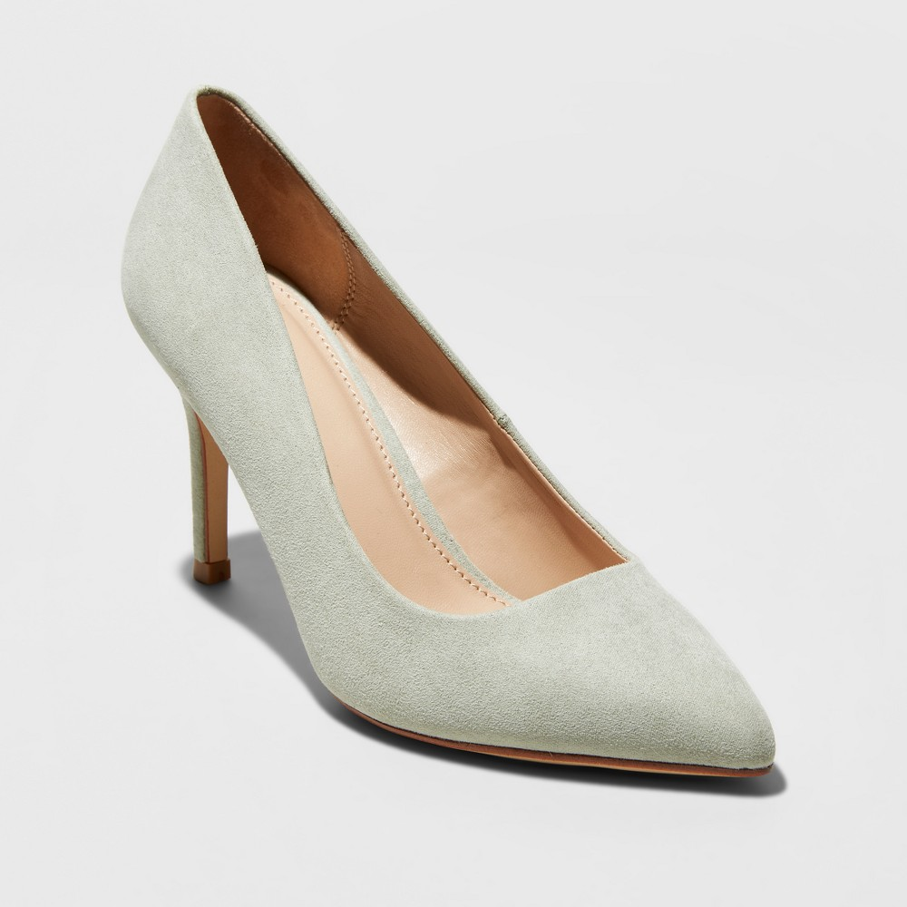 Women's Gemma Pointed Toe Heeled Pumps - A New Day Mint Green 8.5