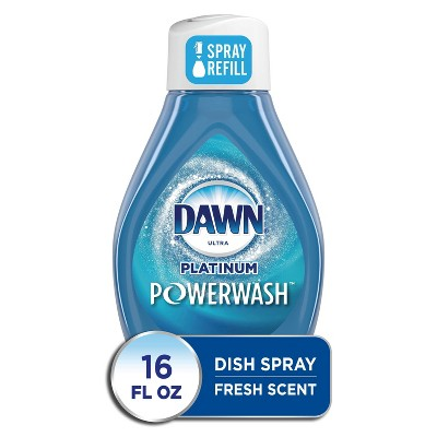 Dawn Platinum Powerwash Dish Spray, Dish Soap, Fresh Scent Refill - 16oz