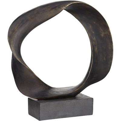 """Kensington Hill Round Abstract O 22 1/4"""" High Matte Bronze Sculpture"""