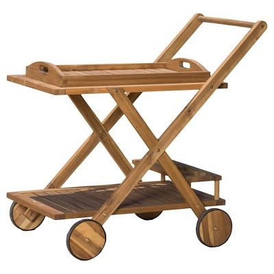 Riviera Acacia Wood Patio Bar Cart With Tray - Natural - Christopher Knight Home