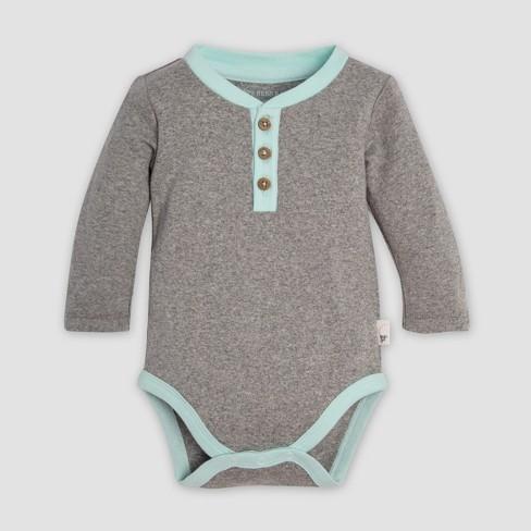 Burt s Bees Baby® Organic Cotton Henley Bodysuit   Micro Peace Stripe  Footed Pant Set - Heather Gray   Target 1cf5ff5b56bb