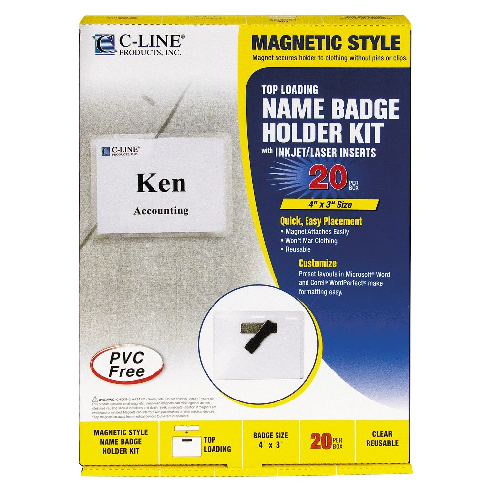 C-Line Magnetic Name Badge Holder Kit, Horizontal, 4w x 3h, Clear, 20/Box, Size: Small