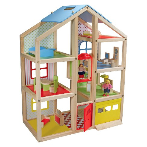 Melissa & Doug® Hi-Rise Wooden Dollhouse With 15pc Furniture - Garage and Working Elevator - image 1 of 4