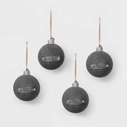4ct Metal Rounds Christmas Ornament Set Charcoal - Wondershop™
