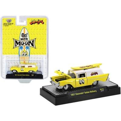 "1957 Chevrolet Sedan Delivery Yellow & Surfboard ""Mooneyes"" Santa Fe Springs LTD ED to 7150 pcs 1/64 Diecast Car by M2 Machines"