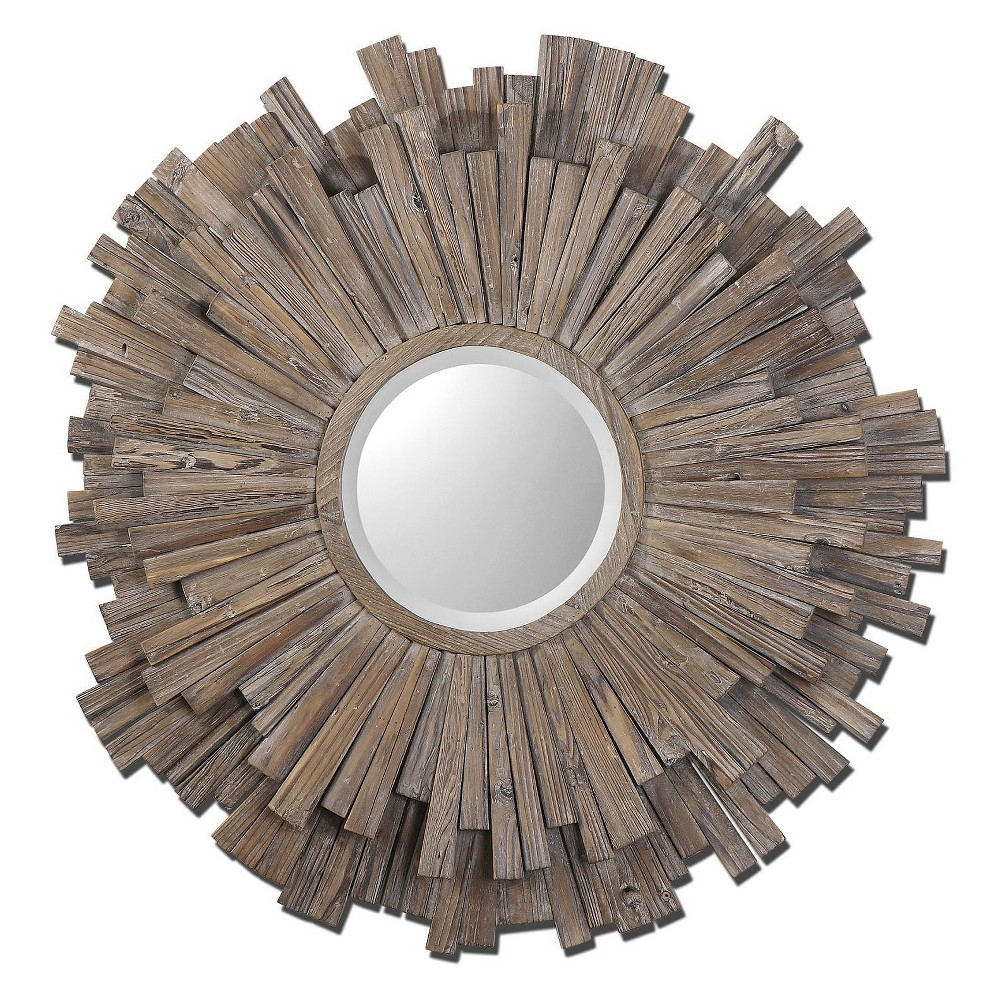Image of Sunburst Vermundo Decorative Wall Mirror Wood Finish - Uttermost