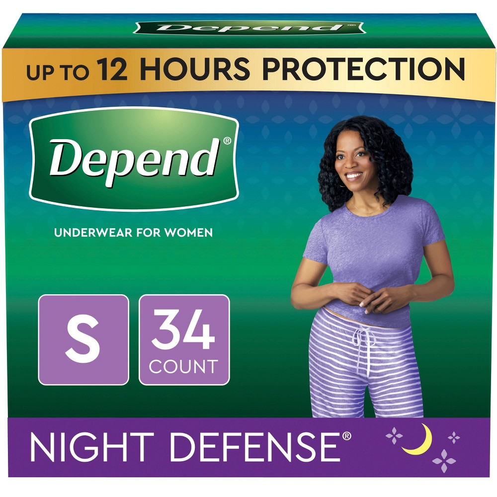 Depend Night Defense Incontinence Underwear For Women Overnight Small Blush 34ct