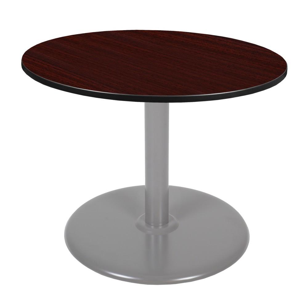 42 Via Round Platter Base Table Mahogany/Gray (Brown/Gray) - Regency