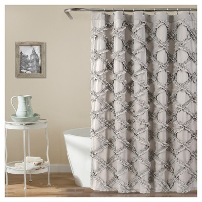 Shower Curtain Ruffle Diamond Gray - Lush Decor