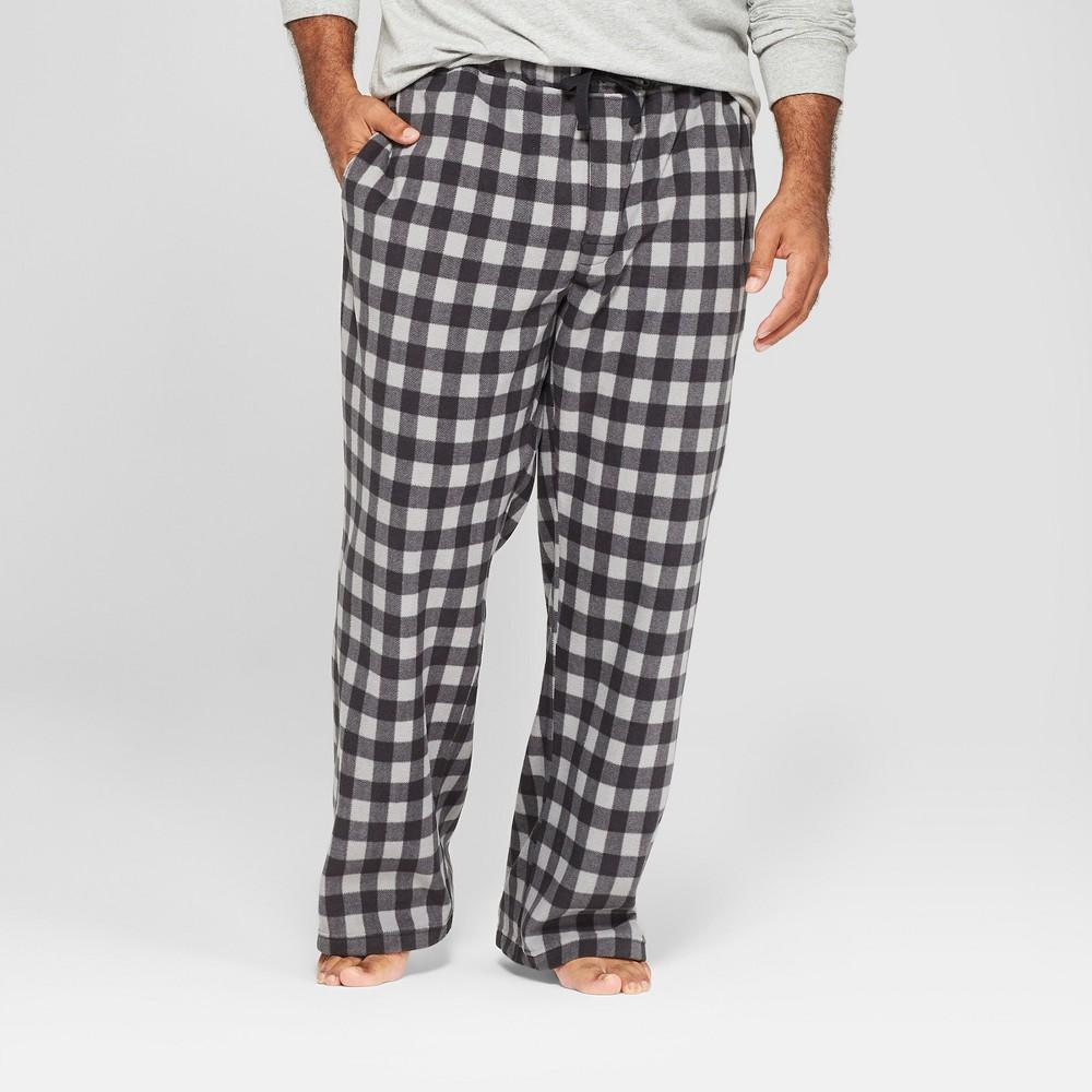 Men's Tall Plaid Micro Fleece Pajama Pants - Goodfellow & Co Gray LT