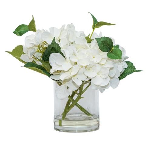 Artificial Hydrangea Arrangement In Glass Pot White 11 Lloyd