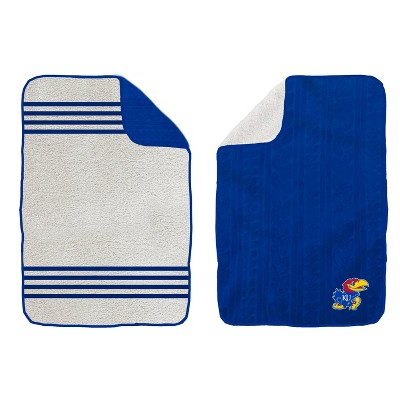 NCAA Kansas Jayhawks Cable Knit Embossed Logo with Sherpa Stripe Throw Blanket