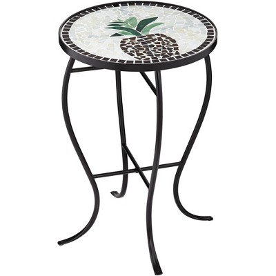 Teal Island Designs Beige Pineapple Mosaic Round Outdoor Accent Table