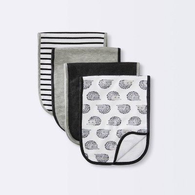 Baby 4pk Burp Cloth Set - Cloud Island™ Black/White