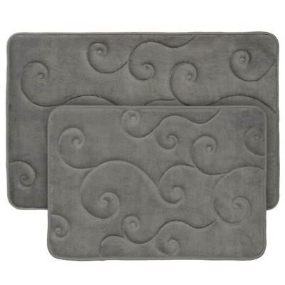 Swirl Memory Foam Bath Mat 2pc Gray - Yorkshire Home