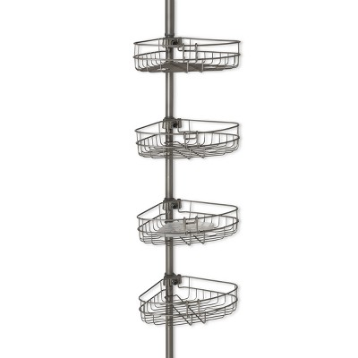 Tension Pole Metal Shower Caddy Satin Nickel - Zenna Home