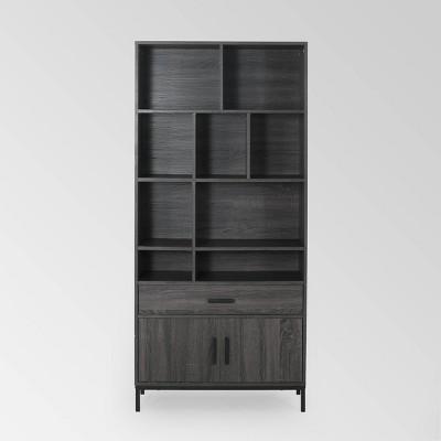 """67.25"""" Gallatin Contemporary Cube Unit Bookcase Dark Gray - Christopher Knight Home"""